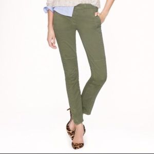 J. Crew olive green ankle jeans with zipper.